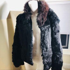 Vintage Black Rabbit Fur Coat
